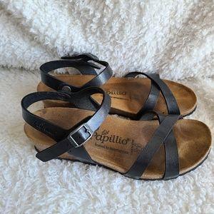 Birkenstock Papillio Black Lola Wedge Sandals